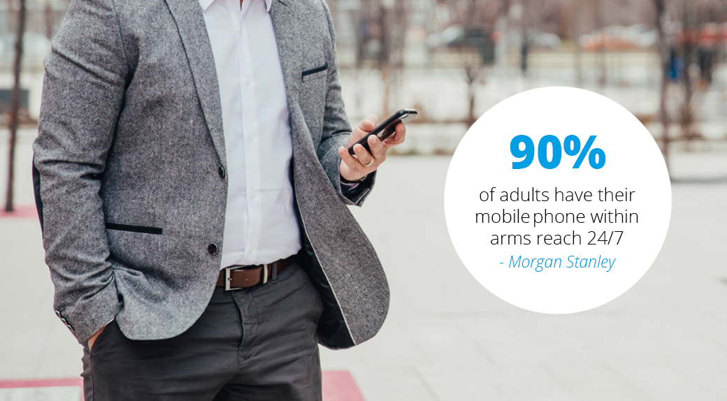 90% of adults have mobile phones